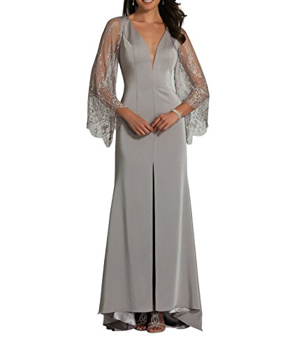 mit Grau Abschlussballkleider Abendkleider Festlichkleider Brau Langarm La Neu mia 2018 Etuikleider Spitze Brautmutterkleider HzwqT7n