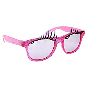 Sunstaches Pink Frame Lashes Sunglasses, Instant Costume, Party Favors, UV400