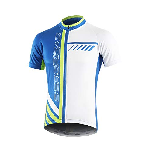 BERGRISAR Men's Cycling Jerseys Short Sleeves Bike Shirt, 8002blue, X-Large