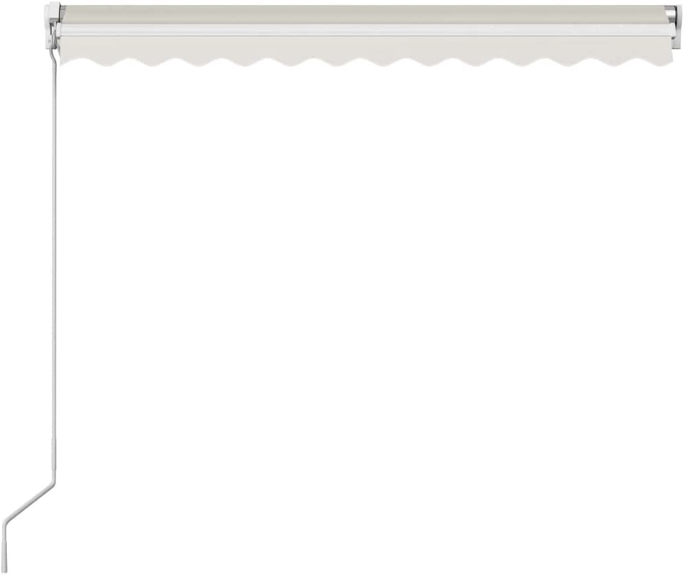 vidaXL Tenda da Sole Retrattile Manuale per Finestra Privacy Schermo Parasole a Scomparsa 300x250 cm in Tessuto PU Crema Telaio in Alluminio