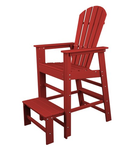 POLYWOOD SBL30SR South Beach Lifeguard Chair, Sunset Red For Sale