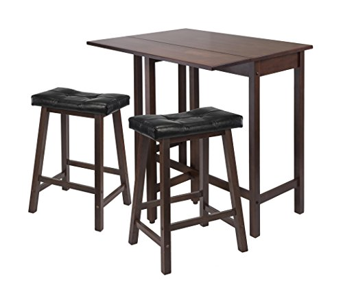 Winsome Lynnwood Drop Leaf Kitchen Table with 2 Cushion Saddle Seat Stools, 3-Piece