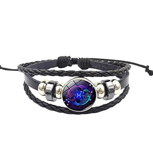 WoCoo China Element Bracelet,12 Zodiac Sign Pendant Multilayer Handmade Wristband,Best Gift for Women(H)