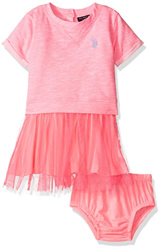 U.S. Polo Assn. Baby Girls' French Terry and Tulle Dress, Neon Pink, 12 Months (Terry Polo Top)