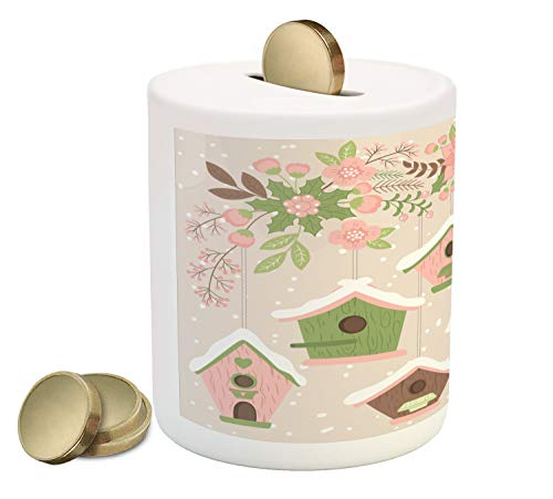 Ambesonne Birdhouse Piggy Bank, Pastel Tone Nests Floral Ornaments Covered in Snow, Printed Ceramic Coin Bank Money Box for Cash Saving, Khaki Blush Pale Eggshell Pistachio Green