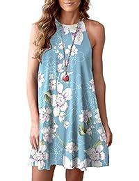 ba11c64ed86 Women Halter Neck Boho Print Sleeveless Casual Mini Beachwear Dress Sundress