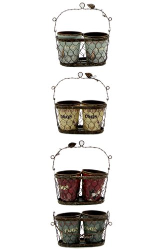 Iwgac Wire Basket with 2 Decaled Plastic Cups Basket for Farm Eggs 4 assorted priced each