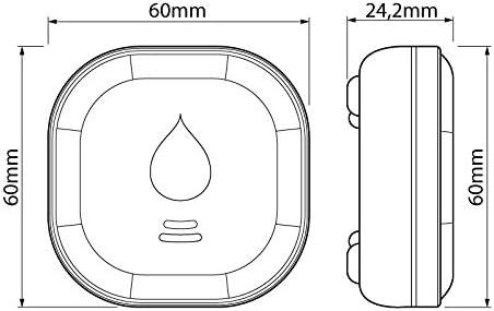 Wassersensor mit Lithium Batterie 10 Jahres Langzeit-Batterie Wasseralarm SEBSON Wassermelder Mini GS153 Wasserw/ächter 60x60x24,2mm
