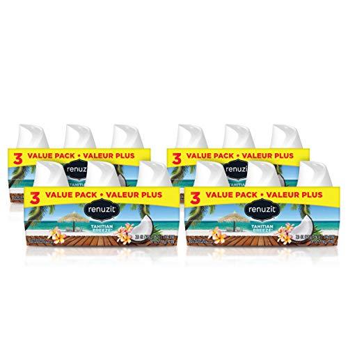Renuzit Gel Air Freshener, Tahitian Breeze, 3 Pack, 4Count, 12 Total Air Fresheners