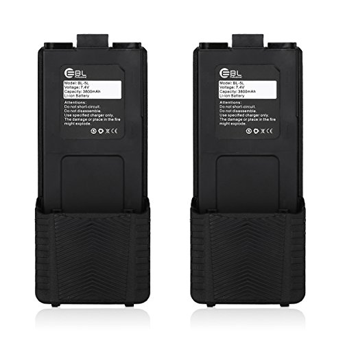 EBL 2 Pack BL-5L High Capacity 7.4V 3800mAh Li-ion Extend Rechargeable Battery For Baofeng UV 5R UV-5RE Two-way-radio Batteries by EBL