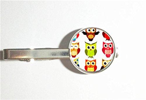RainbowSky Kawaii And Lovely Owls Fashion Tie Bar Clip Clasp for Necktie, Silvery -323 (323 Bar)