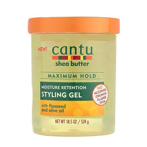 Cantu Shea Butter Maximum Hold Moisture Retention with Flaxseed and Olive Oil Styling Gel 18.5oz (1PCS) (Cantu Shea Butter Twist And Lock Gel)