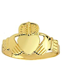 Bold 10k Yellow Gold Solid Band Irish Claddagh Ring for Men
