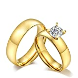 AnaZoz 2PCS Wedding Ring Set Stainless Steel Solitaire Zirconia Engagement Ring Gold Women Size 8 & Men Size 12