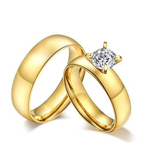 Stainless Steel Rings His and Hers Size 9 & Size 11 Wedding Ring Band Sets for Him and Her 4-Prong CZ