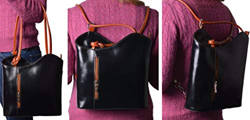 In Zaino Borsa Cloe 207 Spalla Market Leather Trasformabile Pelle Vera A nero Rosso Florence Borse Lucida qwHYE0n