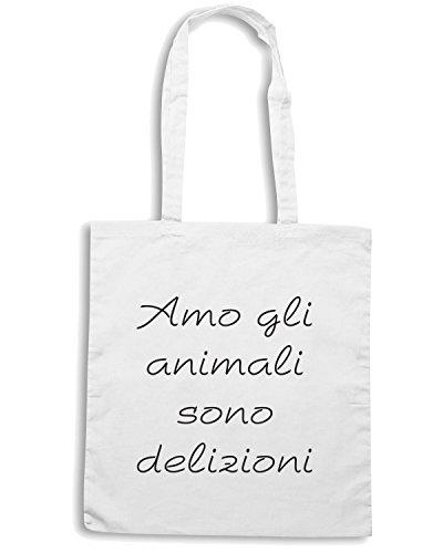 T-Shirtshock - Bolsa para la compra TDM00021 amo gli animali sono deliziosi Blanco