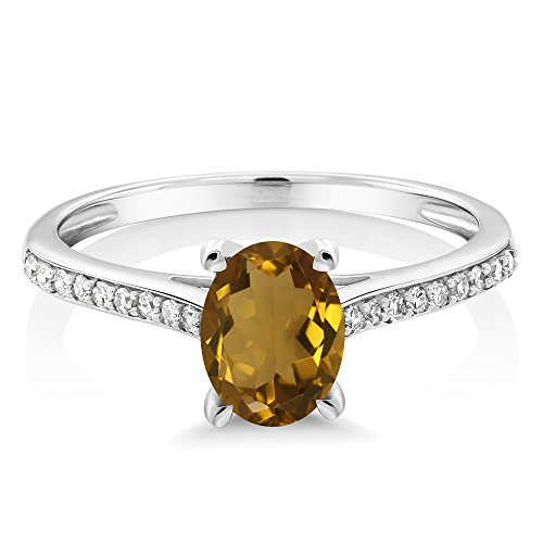 10K White Gold Pave Diamond Engagement Solitaire Ring set with 8x6mm Oval Whiskey Quartz 1.10 ct