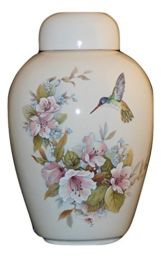 Hummingbird with Flowers - Funeral Urn - Cremation Urn for Human Ashes - Hand Made Pottery