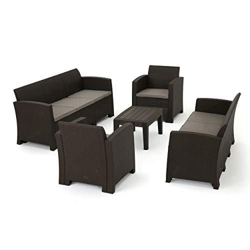 Great Deal Furniture Jaimaca Outdoor 5 Piece Brown Faux Wicker Rattan Style Chat Set with Sofa and Mixed Beige Water Resistant Cushions