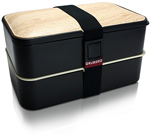 ORIGINAL Bento Box by GRUB2GO w/FREE Bento Food Ideas Guide + Utensils - Leakproof Lunch Container - Black/Wood