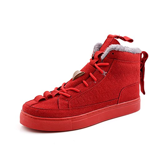 Men's Shoes Feifei Winter Keep Warm High Help Casual Shoes 2 Colours (Color : Red, Size : EU39/UK6/CN39)