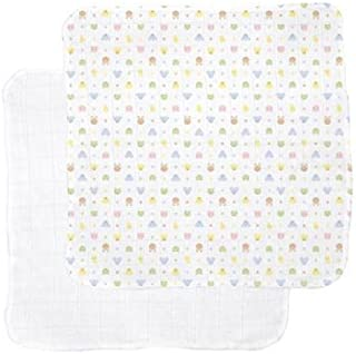 product image for Organic Cotton Gauzie Receiving Blankets, Set of 2, in White/Print