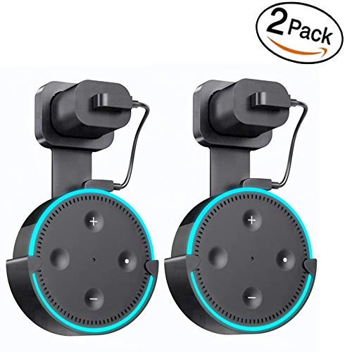 Wall Mount Hanger Holder for Echo Dot2, Yooker Best Space-Saving Dot Accessories Case for Your Smart Home Speaker Without Mess Wires or Screws (Short Charging Cable Included)-2 Pack