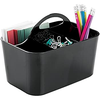 mDesign Office Supplies Desk Organizer Tote for Scissors, Pens, Pencils, Notepads - Small, Black