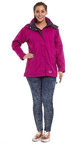 Mujer Ligero Impermeable perchero de pared de chaqueta impermeable para mujer con capucha desmontable Fushia