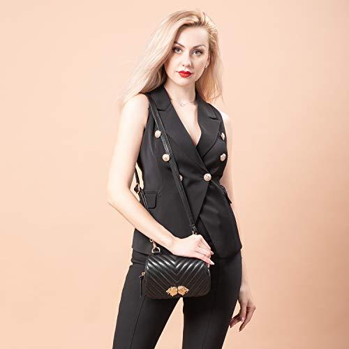 LOVEVOOK Fanny Pack Designer Compact Travel Sport Belt Bag for Women Inset Lions Black