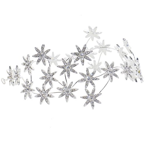 RTNOW Wedding Bridal Silver Star Crystal Rhinestone Headband Hair Accessories Bridal Crowns Star Full Rhinestone Crown Hairband Vintage Crystal Tiara -