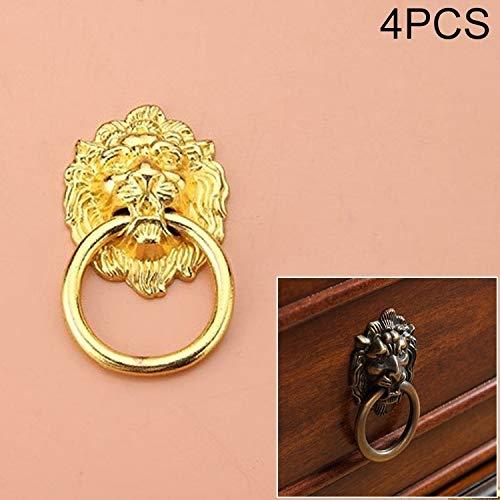 DSLSM 4 PCS Classic Individual Hole Lion Head Wardrobe Medicine Cabinet Handle (Color : Gold)