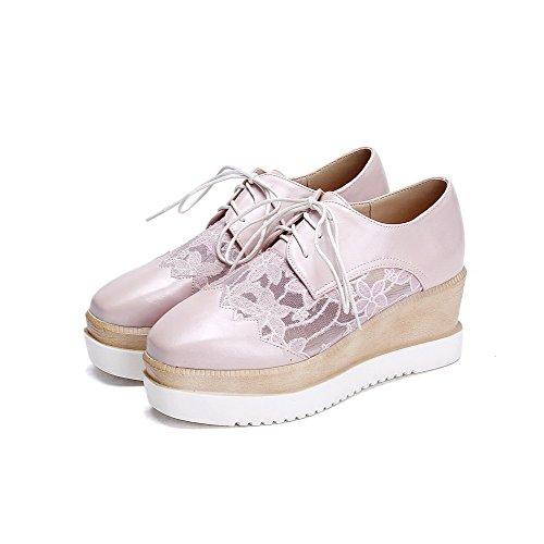 AllhqFashion Damen PU Mittler Absatz Quadratisch Schließen Zehe Schnüren Pumps Schuhe Pink