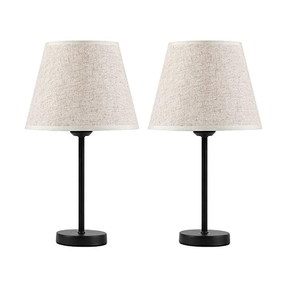 "Bedside Nightstand Table Lamps, Small Black Metal Lamp with Linen Lampshade for Bedroom Living Room College Dorm Office, Set of 2 - Set of 2 table lamps. Each is 15.4'' high overall. Shades are 5.5'' acroos the top, 8.6'' the bottom and 6.6"" high. Each lamp uses one maximum 60 watt standard-medium E26 bulb (not included). This small lamps features a black metal base and linen shade to meet your basic fashion lighting needs - lamps, bedroom-decor, bedroom - 41uibhOhlYL. SS570  -"