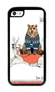Apple Iphone 5C Case,WENJORS Awesome Bear Sleigh Soft Case Protective Shell Cell Phone Cover For Apple Iphone 5C - TPU Black