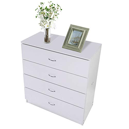 Four Drawer Dresser,Bedroom Furniture Nightstand Chest Dresser Sleek Cabinet Organizer White for Storage Clothes Garments Accessories Living Room Home Office 25.98 Inch (Chester Furniture Discount)