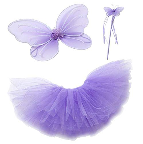 Purple Fairy Princess Tutu Costume Set for Girls, Purple, Size S (1-2 Years)