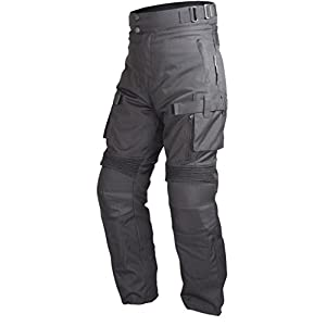 Motorcycle Cordura Waterproof Riding Pants Black with Removable CE Armor PT2 (M)