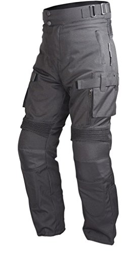 Motorcycle Textile Waterproof Riding Pants Black with Removable CE Armor PT2 (M)