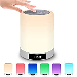 Night Light Bluetooth Speaker with Alarm Clock - Touch Sensor Wireless Speaker, Bedside Lamp, Dimmable Warm White Light & 7 Color 3 brightnesses Changing