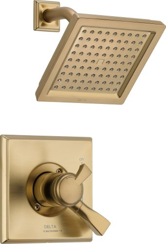 Delta Faucet Dryden 17 Series Dual-Function Shower Trim Kit with Single-Spray Touch-Clean Shower Head, Champagne Bronze T17251-CZ (Valve Not Included)