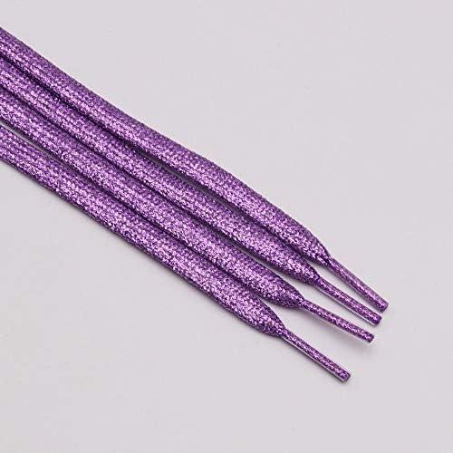 JWJY グリッター靴ひもシャイニーファッションキラキラ靴ひもクリスマスカラーのシックなきらめく7ミリメートルメタリックBootlaces (Color : 2369 Grape purple, Length : 140CM)
