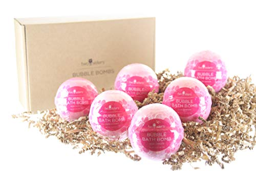 Spa Salts Bath Rose - 6 Rose Garden Bubble Bath Bombs. Individually Wrapped Fizzy by Two Sisters Spa