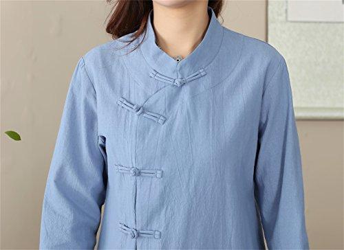 Blouse Longue Manche Bleu Acvip De Nation Tang Avec Femme Chinois Ciel Style Bouton Vêtement Veste Rétro XzxAwY
