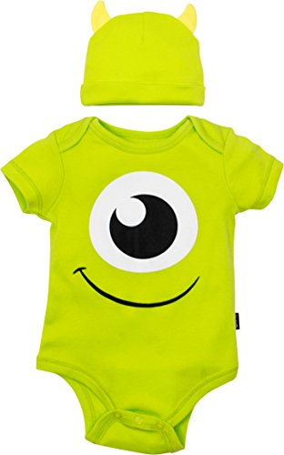 Disney Pixar Monsters Inc. Mike Wazowski Baby Boys' Costume Bodysuit & Hat Green (0-3 Months) -