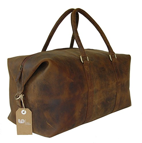 LeftOver Studio Expandable Weekend Overnight Travel Duffel Bag in Thick Oil Pull Hunter Water Buffalo Leather by Leftover Studio (Image #4)