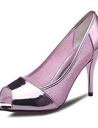 tacones Uk4 5 De tac¨®n Eu37 Eu39 Zq Cn37 Plata Uk6 Silver 5 Zapatos casual us8 Mujer Robusto 5 us6 Cn39 pu Silver rosa tacones 7 1gxXqF