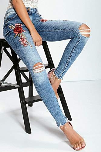 Mujeres Casuales Mezclilla Bordados Botones Vaqueros Delanteros De Con Para Bolsillos Alta Bluef Lápiz Cintura Pantalones Mujer xnwgzHcBcq