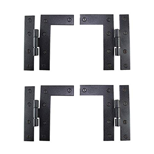 Renovators Supply Manufacturing Pair Flush H-L Cabinet Hinge Wrought Iron 4.5 Inches H Pack of 2